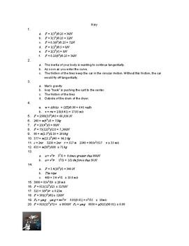 Basic Centripetal Force Worksheet