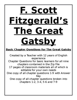Basic Chapter Questions for The Great Gatsby