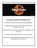 The Hunger Games - Basic Chapter Questions With Answer Key