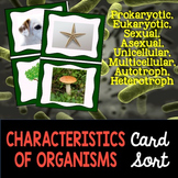 Basic Characteristics of Organisms Card Sort Activity