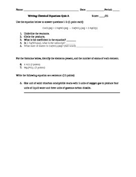 Basic Chemical Equations Quiz