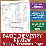 Basic Chemistry Review for Biology Class: Homework Worksheet
