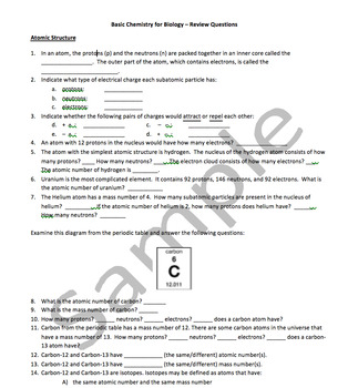 Basic Chemistry for Biology Review Questions with Answer Key