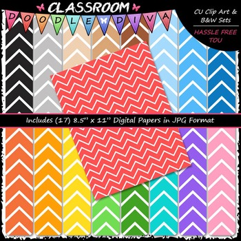 Basic Chevron 4 - 17 CU 8.5x11 Digital Papers
