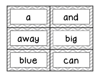 Basic Chevron Word Wall Label Cards