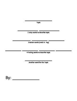Basic Cinquain Outline