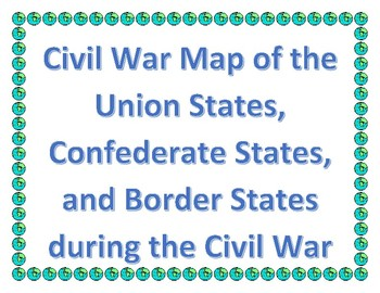 Civil War Map With Union Confederate Border States With - Union confederate us territories and borderstates map