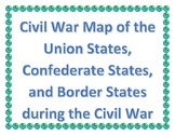 Civil War Map with Union, Confederate, Border States with