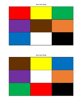 Basic Color Bingo or Tic-Tac-Toe for ELL / Foreign Language (12 cards)