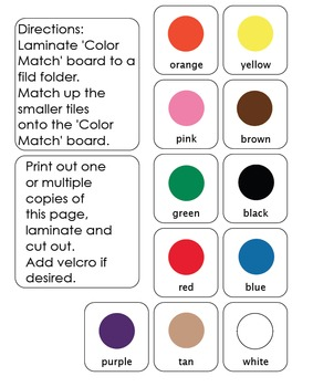 Basic Color Matching File Folder Game