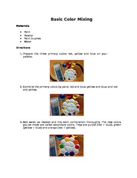 Basic Color mixing for 2nd Grade