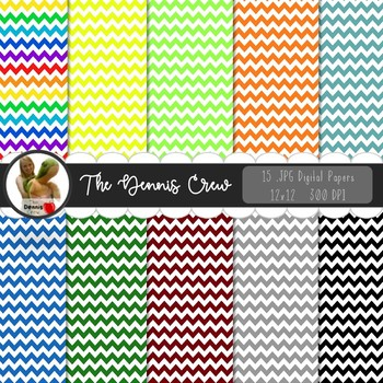 Basic Colors Chevron Digital Papers