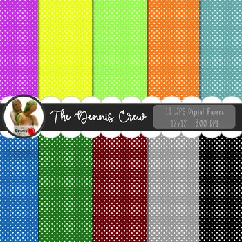 Basic Colors Polka Dotted Digital Papers