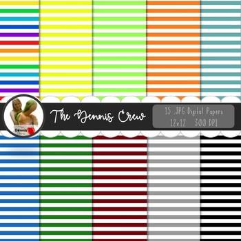 Basic Colors Stripe Digital Papers