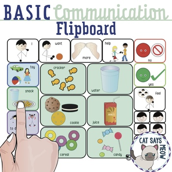 "Basic Communication ""Flip Board"" Request Snacks, Toys, Actions Low Tech AAC"