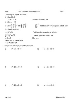 Basic Completing the Square Work Sheets (Whole number answers)