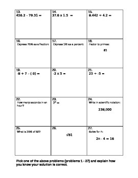 "Basic Computation Assessment Test ""B"""