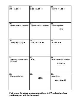 """Basic Computation Assessment Test """"G"""""""