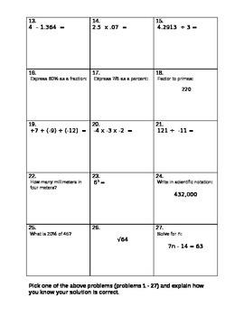 "Basic Computation Assessment Test ""H"""