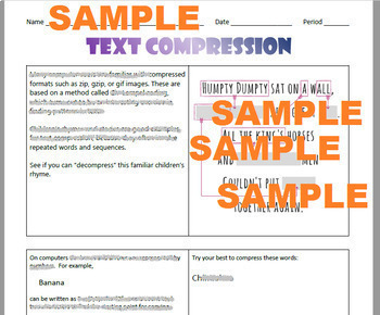 Basic Computer Science Worksheets (Binary, Pixels, & File Compression)