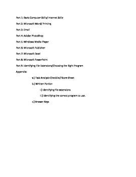 Basic Computer Skills SGO Assessment - Task Analysis Checklist