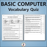 Basic Computer Vocabulary Quiz and Word List