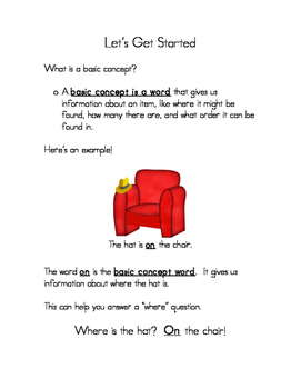 Basic Concept Development Packet for Spatial Concepts in Speech Therapy