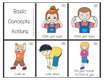 Basic Concepts Action Flashcards Directions Tpt
