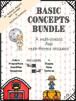 HUGE Basic Concepts & Following Directions Bundle (Multi-Leveled/Themed)
