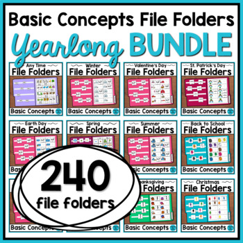 Basic Concepts File Folders: Yearlong BUNDLE (Autism and S