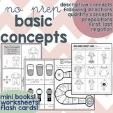 Basic Concepts No Prep Worksheets, Homework, Print and Go