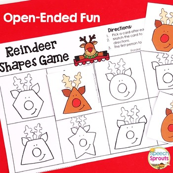 Math Vocabulary in Speech Therapy: Same and Different Reindeer Shapes