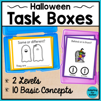Halloween Task Cards for Special Education and Autism - Basic Concepts