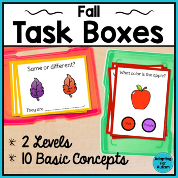 Apples and Fall Task Cards: Basic Concepts for Special Education and Autism