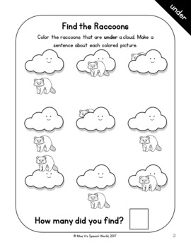 Basic Concepts Workbook - Interactive Printables for Positional Concepts Speech