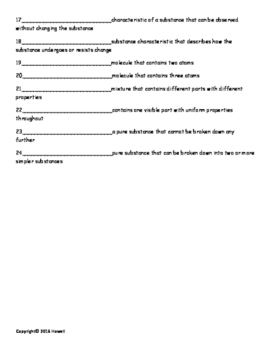Basic Concepts of Matter Vocabulary Quiz or Worksheet for General Chemistry