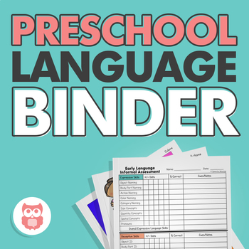 Preschool Language Binder: Targets Early Expressive and Receptive Skills