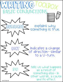 Basic Conjunctions posters & writing template