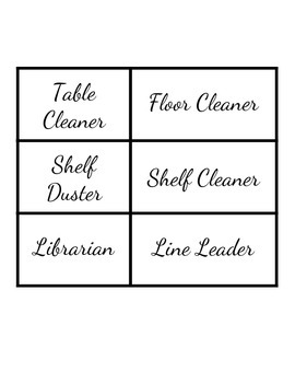 Basic Cursive Job Chart