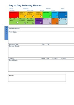 Basic Day- to -Day Relief Teacher Planner - NZ Teacher