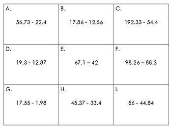 Basic Decimal Operation Task Cards