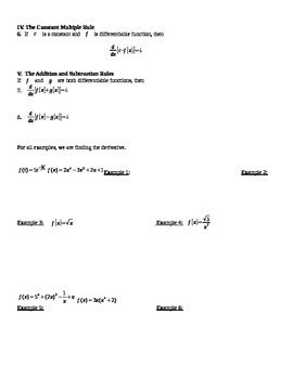 Basic Derivative Rules Notes