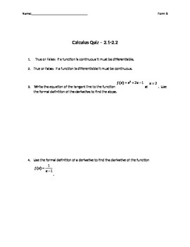 Basic Derivative Rules and Formal Definition Quiz