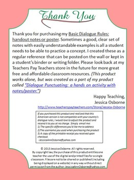 Dialogue Rules and Quotation Marks Notes or Poster with Examples