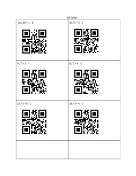 Basic Division Fact: QR Crack the Code