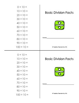 Basic Division Facts Booklet