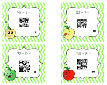 Basic Division QR Code Task Cards (Apple Themed)