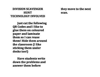 Basic Division Scavenger Hunt QR Codes