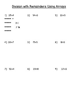 Basic Division w/Remainders Using Arrays