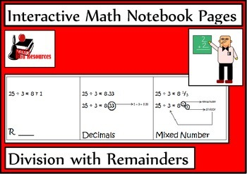 Division with Remainders Lesson for Interactive Math Notebooks